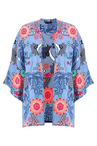 Femmes Bleu Jasmine Kimono Surdimensionné Imprimé Oriental Bleu