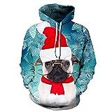 Unisex Paare Weihnachtsmann mit Kapuze Sweatshirt 3D gedruckt Quick Dry Sweat Shirt Langarm Hoodie Taschen Top WY-232