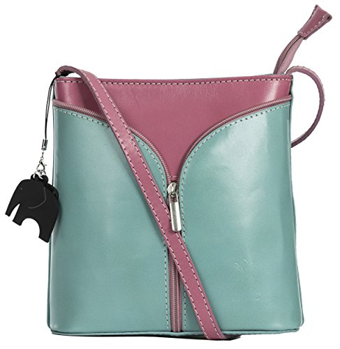 Big Handbag Shop Borsetta piccola a tracolla, vera pelle italiana Green (Sea) - Pink Trim