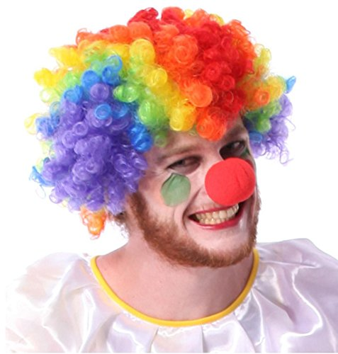 DZW Red Foam Clown Nose + Mehrfarbige Clown Perücke, One Size, Halloween Perücke für Masquerade Cosplay (Clown Hai Kostüm)