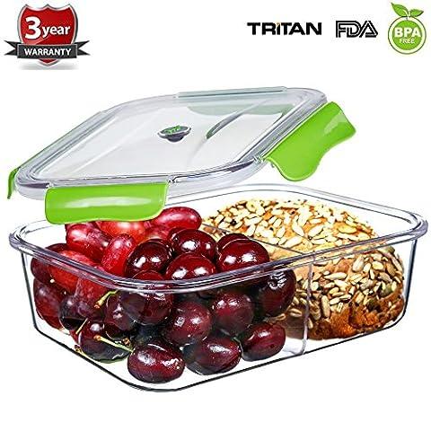 Frischhaltedosen Mikrowelle Lunchbox 100% bpa frei Luftdicht Auslaufsicher mit 2 fächern sicher für Gefrierschrank und Spülmaschine,Tritan (1,68 Liter, Rechteck, (Rechteck Glas)