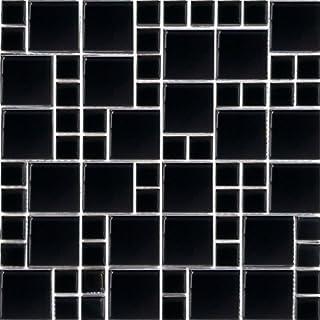 30x30cm Mixed Sizes Polished Black Glass Modular Mosaic Tiles Sheet (MT0025)