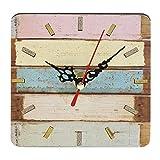 Sanzhileg Práctico Artístico Creativo Estilo Europeo Ronda Colorido Rústico Decorativo Antiguo Reloj de Pared de Casa de Madera - Colorido