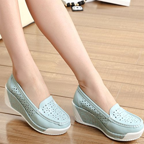 Solshine , chaussures compensées femme bleu clair