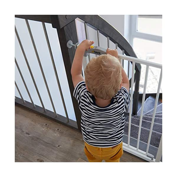 Hauck Open N Stop stair gate including 21 cm extension, gate guard for children, 96 - 101 cm, without drilling, White Hauck Easy to fix Locking mechanism for double safety Opens to both sides 5
