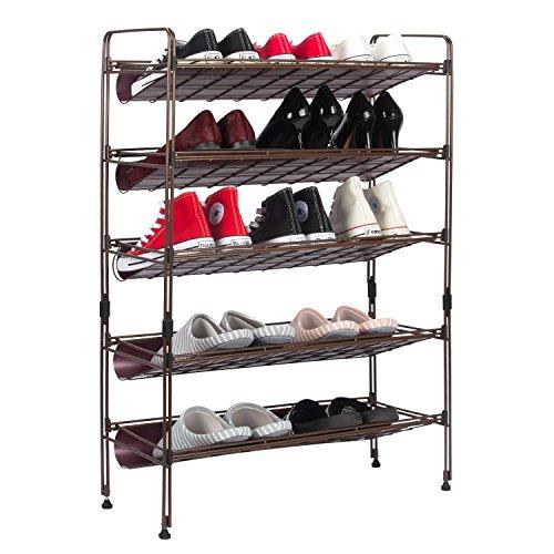 Kealive scarpiera, portascarpe salvaspazio in metallo a 5 ripiani regolabili, moderna design salvaspazio, scaffale estensibile impilabile in piedi scaffalature organizer, marrone