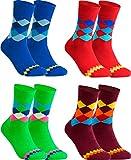 gigando - Qualitäts Socken für Herren 4 Paar - kariertes buntes Muster für Anzug, Business und Freizeit - grün, blau, rot, bordeaux - 43/46