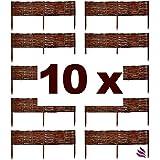 Floranica® Beeteinfassung, Weiden-Zaun, Steckzaun in 25 Größen, imprägniert mit Buchepflöcke für längere Haltbarkeit, Beet-Umrandung, Weg-Abgrenzung
