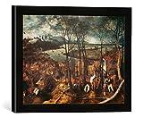 Gerahmtes Bild von Pieter Bruegel der ÄltereDer düstere Tag, Kunstdruck im hochwertigen handgefertigten Bilder-Rahmen, 40x30 cm, Schwarz matt