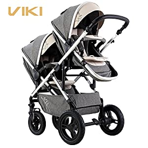 Multi-Function Baby Stroller for Twins, Two-Way Twins Stroller, Pushchair for 2 Kids, Bidirectional, Can Sit & Lie Down   4