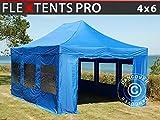Dancover Tente Pliante Chapiteau Pliable Tonnelle Pliante Barnum Pliant FleXtents Pro 4x6m Bleu, avec 8 cotés