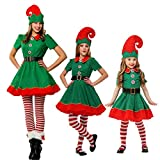 semen Weihnachten Kostüm 4er Pack Weihnachtself Familien Set Kinder Erwachsenen Fancy Xmas Elf Outfit Dress Overall