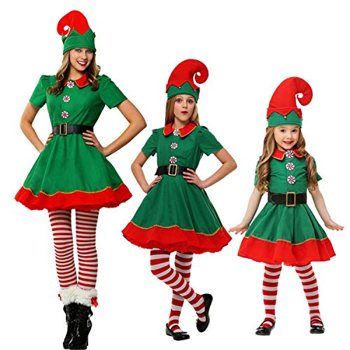 (semen Weihnachten Kostüm 4er Pack Weihnachtself Familien Set Kinder Erwachsenen Fancy Xmas Elf Outfit Dress Overall)