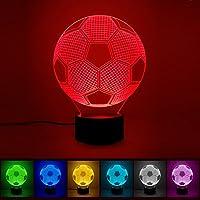 3D Illusion LED Lampe,ink-topoint Fußball Nachtlicht Dekolampe Schreibtischlampe Touch Beleuchtung Tischlampe Tischdeko Mehrfarbig Dekoration für Schlafzimmer Kinder Geburtstag Weltmeisterschaft Haus