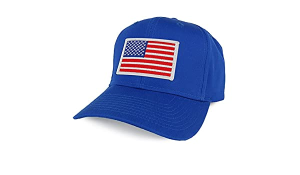 5db21b4bd Armycrew XXL Oversize White USA American Flag Patch Solid Baseball Cap -  Blue - One Size: Amazon.co.uk: Clothing