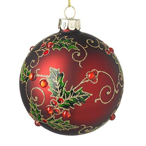 Heaven sends albero di natale con agrifoglio modello rubino rosso e oro (8cm)