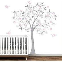 """2016nuevo rosa flor árbol con pájaros, gran tamaño 137x160cm (71""""X54) pared pegatinas para habitación de los niños árbol pared vinilo adhesivo Decor"""