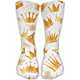 sexy world Gold Crown Unisex Performance Crew Socks Protect The Wrist For Cycling Moisture Control Elastic Socks 50cm(19.6 inch)