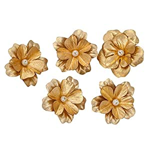 Siri Creations Gold Foil Small Hibiscus Flowers (0.5*1.5 Inches)