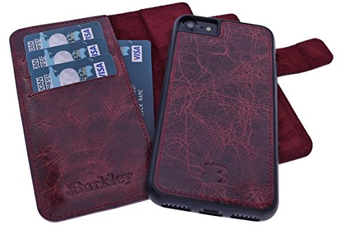 Apple iPhone 8 / iPhone 7 Hülle 2-in-1 Handyhülle | Lederhülle | Handytasche | abnehmbare Schutzhülle | Tasche | Book Cover | Flip Case | bruchfeste Innenschale | Kartenfach (Braun) Bordeaux