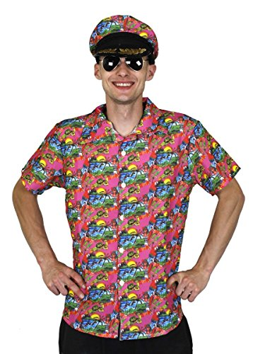 HAWAIIHEMD+Hut+Aviator Brille=KURZÄRMELIGEs Hemd IN 5 VERSCHIEDENEN GRÖSSEN+4 Fasching Karneval Hula Sommer Party=ROSA-SMALL (Aviator Hut Und Brille)