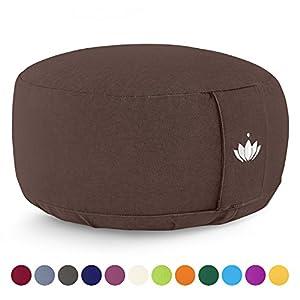 Lotuscrafts Yogakissen Meditationskissen Rund Lotus – Sitzhöhe 15cm – Waschbarer Bezug aus Baumwolle – Yoga Sitzkissen mit Dinkelfüllung – GOTS Zertifiziert – Mit Bestickung