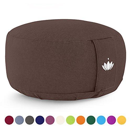Lotuscrafts Yogakissen Meditationskissen Rund Lotus – Sitzhöhe 15cm – Waschbarer Bezug aus Baumwolle – Yoga Sitzkissen…