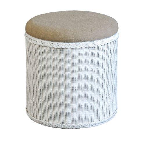 rattan w schekorb w schetruhe mit gepolsterten sitz rund in der farbe weiss. Black Bedroom Furniture Sets. Home Design Ideas
