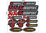1 Set (18 Aufkleber) JDM Akrapovic Racing Sticker Autocollant Pegatinas + plus TOPHEADS© Eyewear Sticker + Motocross BMX Auto Car Bike JDM DUB Tuning Racing