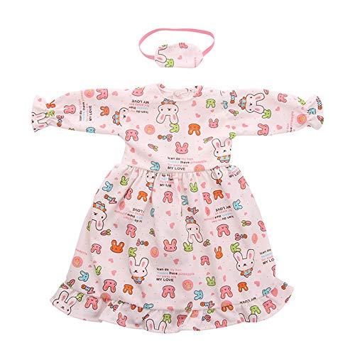 Conjunto de Pijama Vestido de Princesa Estampado+Máscara de Ojos Impresa para 18 Pulgadas Muñeca Americana Chica Gusspower