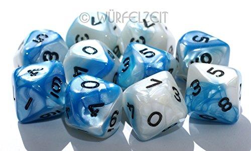 Würfelzeit 7053 - Würfel w10, Alyen weiss-blau m/schwarz (10)