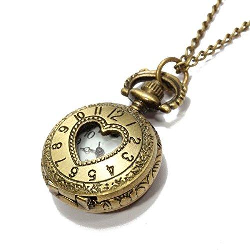 Orologio da Tasca Bronzeo al Quarzo Cuore Numeri Arabi con Collana Vintage
