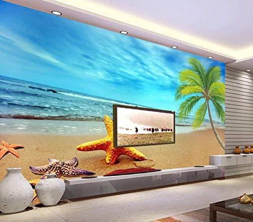 Tapete 3D Dream Seaside Scenery Starfish Modernes Wohnzimmer Schlafzimmer Großes Wandbild Wanddekoration-200cmx140cm Fototapete/Poster/Aufkleber/Poster/Wanddekoration