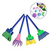Kids Paint Brushes, 18 pcs Sponge Painting Brush Tool Set for Children Toddlers Art Craft DIY Drawing Brush with Apron and Palette Doodle for Early Learning