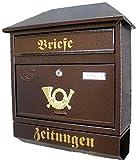 Naturholz-Schreinermeister Großer Briefkasten/Postkasten XXL Kupfer/Bronce mit Zeitungsrolle Zeitungsfach Schrägdach Trapezdach