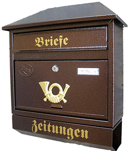 Großer Briefkasten / Postkasten XXL Kupfer / Bronce mit Zeitungsrolle Zeitungsfach Schrägdach Trapezdach