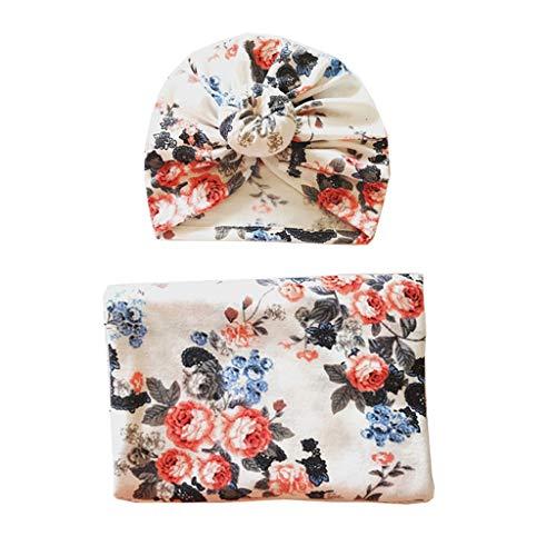 JOYKK Baby Swaddle Blanket + Cap Neugeborenen Turban Knoten Hut Stirnbänder Säuglingsschlafsack Baby Bettwäsche Decke - A # White Flower Donut