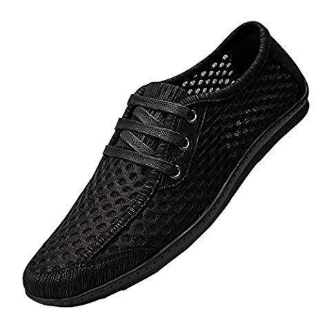 Spades & Clubs Mens Summer Super Air-breathing Mesh Lace-Up Fashion Sneakers Water Shoes Size 9.5 UK Black