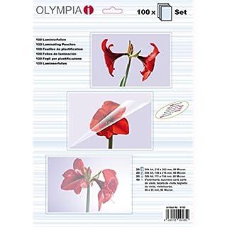 Olympia 9165, Laminierfolien, verschiedene Größen im Set, Sortimentspack (sortiert), 80 mic, 100 Stück, glänzend/transparent, geeignet für alle Heißlaminiergeräte