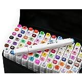 Yosoo gráfico del rotulador - Animación Diseño Colores 60- Amplio y punta fina punta con el bolso Negro (60)