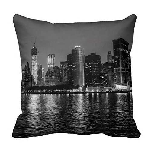 GONIESA Night Photo of The New York City Skyline Landscape Throw Pillow Case Home Decor Pillowcase Cushion Cover 18x18 Inch/45cmx45cm es (Party Ut City)