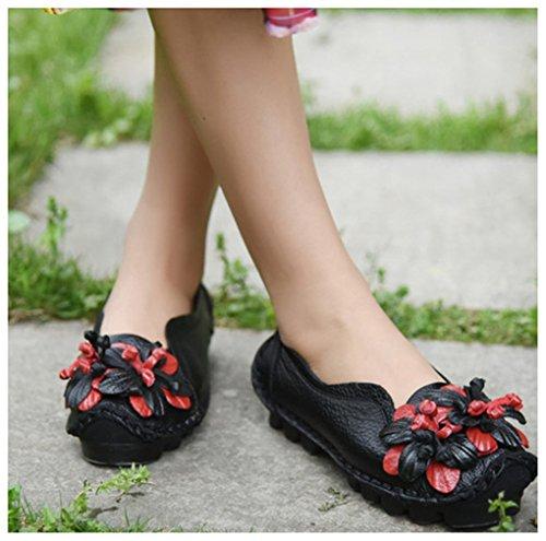 NEWZCERS Einzigartige Vintage lederne Blume handgemachte flache Schuhe für Frauen Schwarz