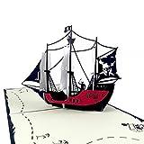Bateau pirate Carte, carte Miracle, mariage, bon d'achat, Voyage Bon d'achat, 3D Carte, carte, bon, carte d'invitation, cartes d'invitation pour anniversaire, cadeau, carte, argent, carte d'anniversaire cadeau
