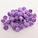SevenMye Künstliche Blumen, Schaumstoff-Rosen, für Brautstrauß/ Party/ Miniaturgarten/ Blumentopf/ Heimdekor, 50Stück violett