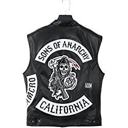SOA Veste Sons of Anarchy en Cuir sans Manche - Style Gilet 100% Vrai Cuir (XXL)