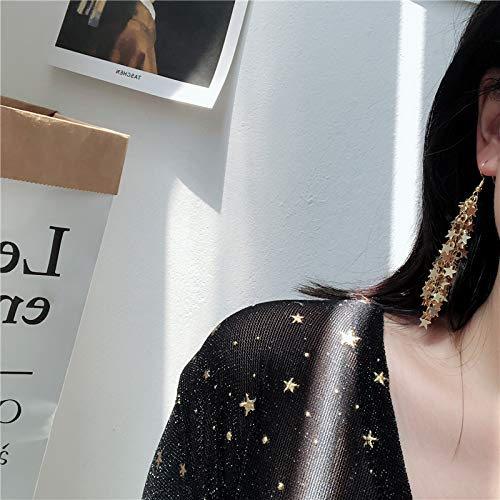 Chwewxi Pentagram Stern Anhänger Quaste Lange Ohrringe Frauen Korea Kaltlicht Super Sensen Ohrstecker Ohrringe Ohrclips, 1 Paar Goldene Ohrbügel