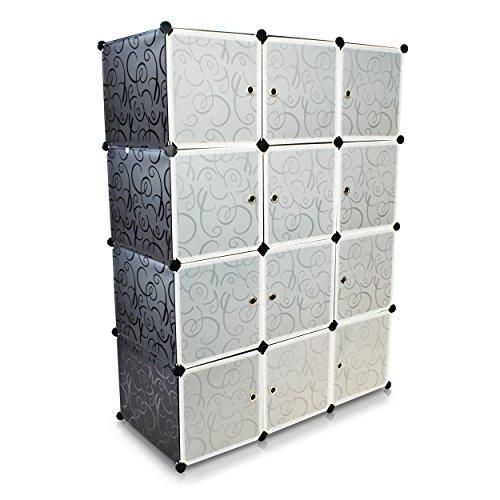 Universal Steckschrank - Set aus 12 Modulfächern, Schwarz / Weiss - Frei gestaltbares DIY...