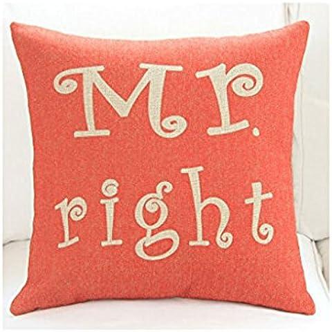 Andonger Cartoon Mr Right E la signora sempre in cotone e lino destro Pillowcase cuscini sul cuscino del divano / vita del cuscino dell'automobile del regalo di Natale decorativo Pillowcase Pillow Copertina One Set (Red) - Red Copertina