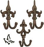 Shabby chic classico ornato di ferro-Gancio da parete gancio per cappotto, cappello, sciarpa-Set di 3
