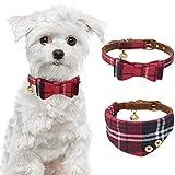 JDYW 2 stücke Hundehalsband Leder Fliege Kragen Bandana Kragen mit Glocke Einstellbar Kariertes Muster Hundehalsband für Katze Hündchen